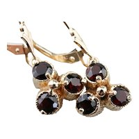 Floral Garnet Drop Earrings