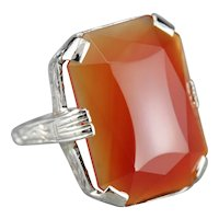 Fantastic Art Deco Carnelian Cabochon Cocktail Ring