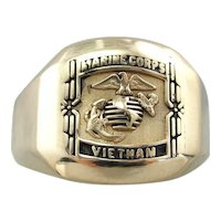 Vietnam, Marine Corps Signet Ring, Heavy 14 Karat Gold Military Signet Ring