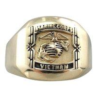 Vietnam, Marine Corps Signet Ring, Heavy 14 Karat Gold Military Signet Ring