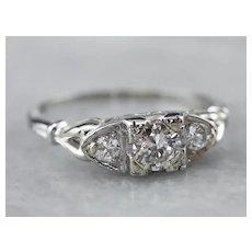 Retro Era Diamond Engagement Ring