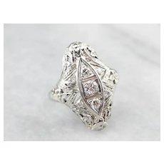 Floral Art Deco Diamond Dinner Ring