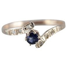 Sapphire and Rose Cut Diamond Ring