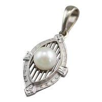 Pretty Art Deco Cultured Pearl Pendant