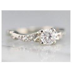 Pretty Scrolling Diamond Engagement Ring