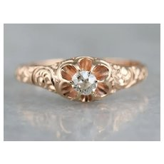 Lovely Victorian Old Mine Cut Diamond Solitaire Ring
