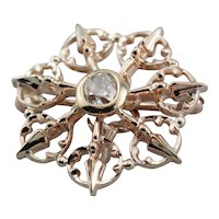 Old Mine Cut Diamond Filigree Brooch or Pendant