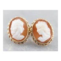 Vintage Cameo Stud Earrings