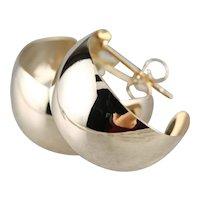 Vintage Plain 14 Karat Gold Hoop Earrings