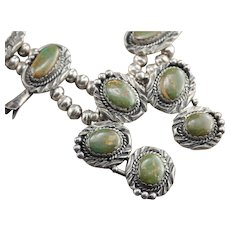 Navajo King's Manassa Green Turquoise Squash Blossom Silver Necklace