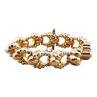 Huge Heavy Retro Era Bracelet, Scalloped Link Bracelet
