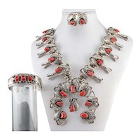 Navajo Coral Sterling Silver Jewelry Set