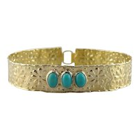 Fine Turquoise and Rustic Daisy Bangle Bracelet
