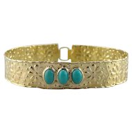 Fine Turquoise and Rustic Daisy Bangle Bracelet