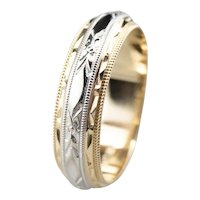 Mid-Century Two-Tone 14 Karat Gold Pattern Band