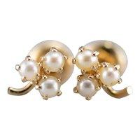 Cultured Pearl Clover Screw Post Stud Earrings
