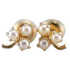 Cultured Pearl Clover Screw Post Stud Earrings