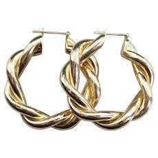 Italian Twisting 14 Karat Gold Hoop Earrings