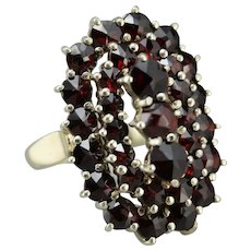 Antique Bohemian Garnet Cluster Ring