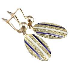 Upcycled Enamel Cufflinks Drop Earrings