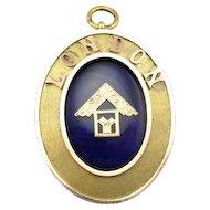Substantial Royal Blue Enamel Masonic Pendant