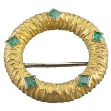 Yellow 18 Karat Gold Emerald Circle Pin