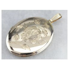 Large Oval Floral Locket