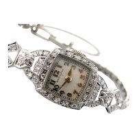 Ladies Hamilton Wrist Watch, Art Deco Platinum and Diamond Fine Time Piece
