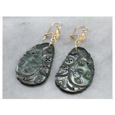 Botanical Carved Jade Drop Earrings