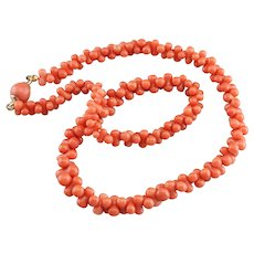 Graduated Branch Coral Beaded Necklace