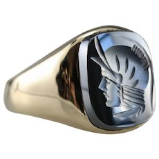 Men's Hematite Intaglio Statement Ring