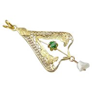 Lavalier Pendant with Demantoid Garnet and Sweet Cultured Pearl