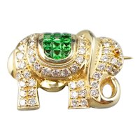 Diamond Tsavorite Garnet Elephant Brooch