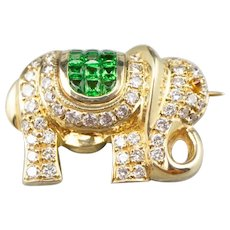 Diamond Tsavorite Garnet Elephant Brooch