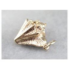 Vintage Conch Shell Charm Pendant