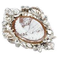 Antique Cameo and Rose Cut Diamond Pendant