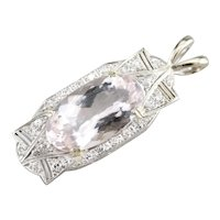 Lovely Upcycled Morganite and Diamond Pendant