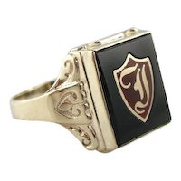 Vintage Mens Onyx Ring with Shield Signet Motif