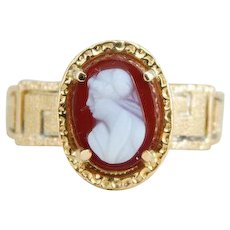 Antique Victorian Sardonyx Cameo Ring