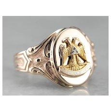 Masonic Ostby and Barton Signet Ring