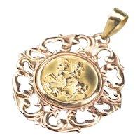 Two Tone 18 Karat Gold Saint George Medallion