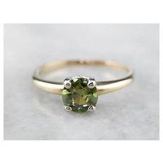 Vintage Demantoid Garnet Solitaire Ring
