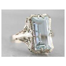 Art Deco Aquamarine Filigree Dinner Ring