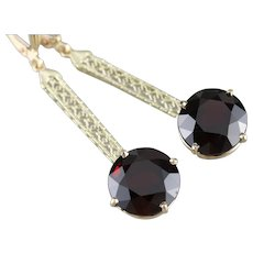 Bold Garnet Filigree Drop Earrings