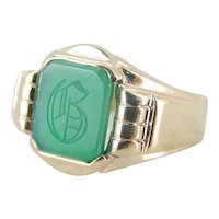 Retro Era Green Onyx Signet Ring with B Monogram