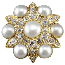 Victorian Old Mine Cut Diamond and Cultured Pearl Brooch