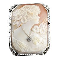 Art Deco Old Mine Cut Diamond Cameo Brooch or Pendant