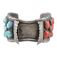 Navajo Coral and Turquoise Watch Cuff