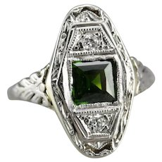 Upcycled Green Tourmaline and Diamond Ring