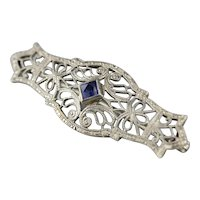 Art Deco Synthetic Sapphire Filigree Pin